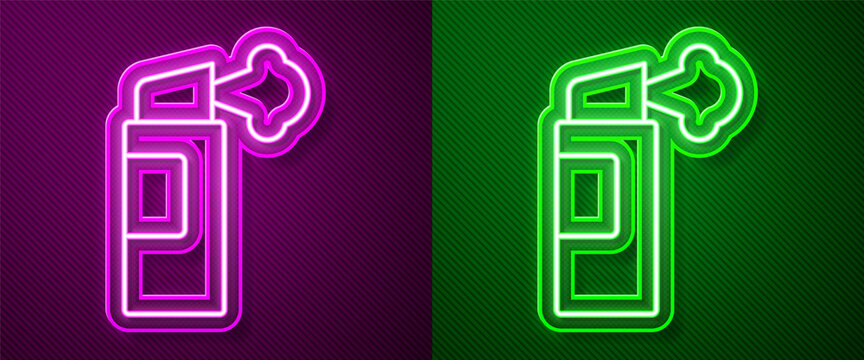 Glowing neon line Pepper spray icon isolated on purple and green background. OC gas. Capsicum self defense aerosol. Vector.