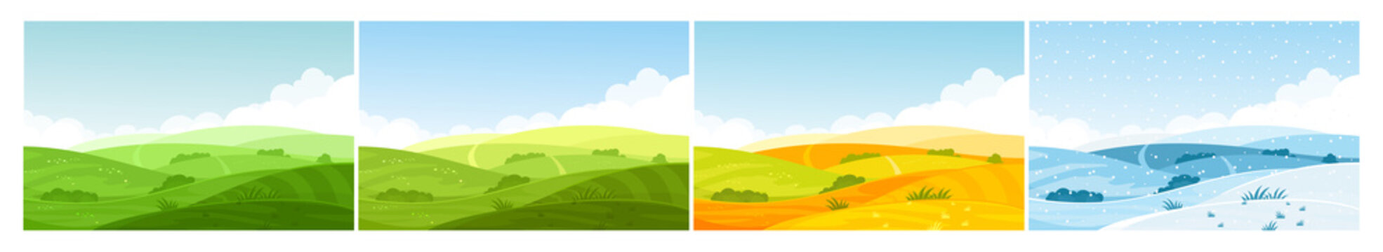 Nature field landscape in four seasons. Cartoon summer spring autumn winter scenes with green grassland meadow, blue snow hills, yellow wild fields, panorama scenery background.