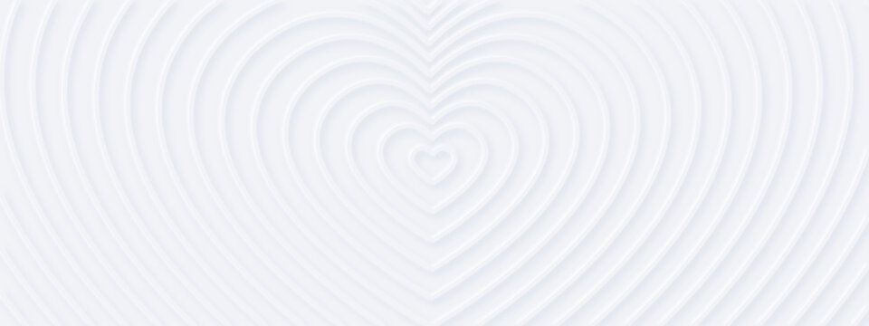 3d white rippled  hearts with soft shadow on light BG from center. Abstract elegant seamless pattern. Neumorphism ui style. Minimal embossed paper wallpaper. Horizontal background for romantic banner