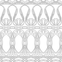 Seamless pattern, border. Wood carving imitation in art nouveau style, vintage, old, retro style. Outline vector illustration.