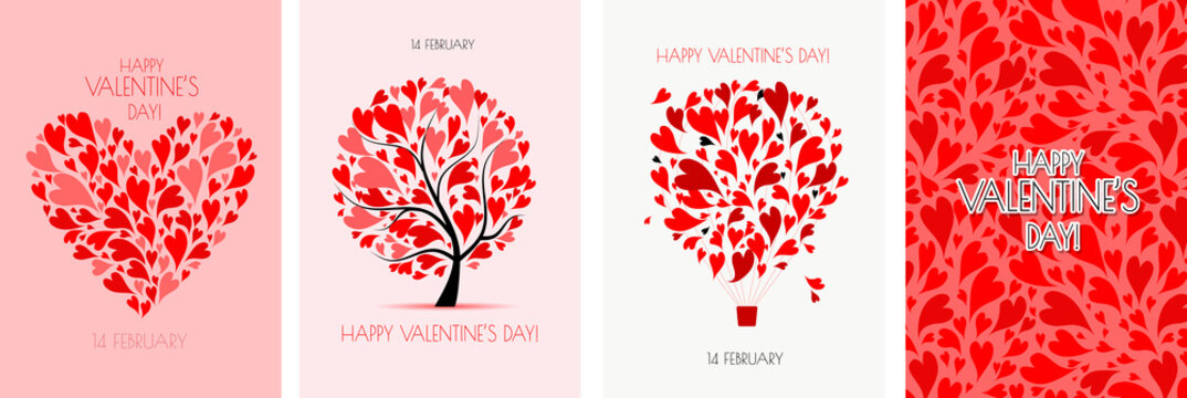 Valentine's day card design. Love Tree, Air Balloon, Heart shape. Wedding set. Wallpaper, flyers, invitation, posters, brochure, voucher,banners.