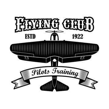 Flying club label design. Monochrome element with biplane or retro airplane vector illustration with text on ribbon. Pilot training school concept for symbols and emblems templates