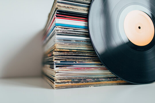 Close up of stack of vinyl records collection