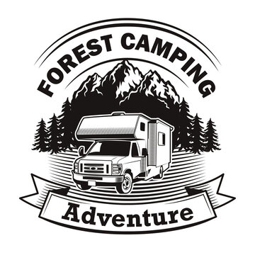 Forest camping label design. Monochrome element with camper vehicle, mountain landscape and text on ribbon. Transport or adventure travel concept for stamps and emblems templates