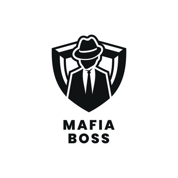 mafia boss logo vector modern simple flat design with black color