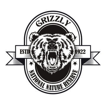 Grizzly reserve symbol design. Monochrome element with roaring bears head vector illustration with text on badge. National park concept for stamps and emblems templates