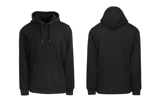 Add your own design. Black Pullover Hoodie cutout and Isolated on a White Background for Easy Editing and Personalisation. Photographed on a Medium Sized Male Ghost Mannequin.