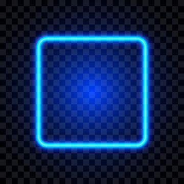Neon blue square frame, isolated, vector illustration.