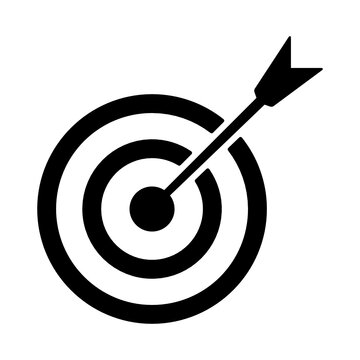 Arrow right on target.A target board an arrow making notion of archery icon