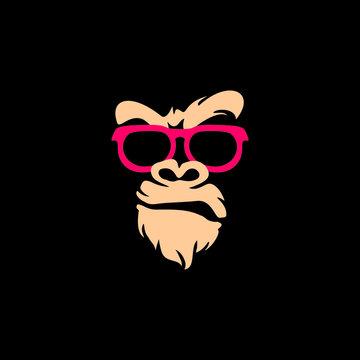 gorilla head vector logo,  Vector logo illustration, ferocious gorilla head on black background