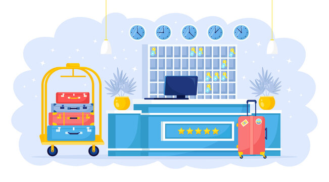 Hotel reception for guest. Desk with computer, luggage cart. Vector illustration