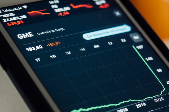 Close up to GameStop stock chart on iPhone screen