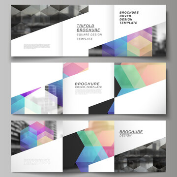 Vector layout of square format covers design templates with abstract shapes and colors for trifold brochure, flyer, magazine, cover design, book design, brochure cover.