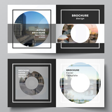 Vector layout of two covers templates for square bifold brochure, flyer, magazine, cover design, book design, brochure cover. Background template with rounds, circles for IT, technology. Minimal style