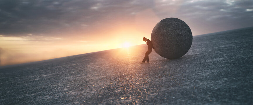 Ilustration of a man maintaining a concrete ball, 3d rendering
