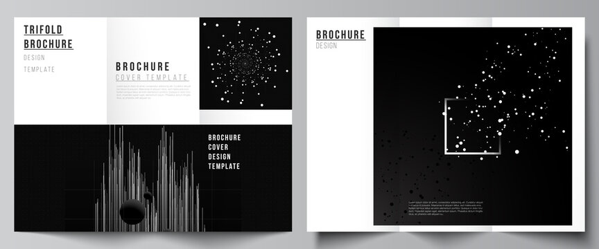 Vector layouts of covers templates for trifold brochure, flyer layout, book design, brochure cover, advertising. Black color technology background. Digital visualization for science, medical, tech.