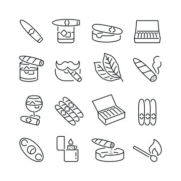 Cigar related icons: thin vector icon set, black and white kit