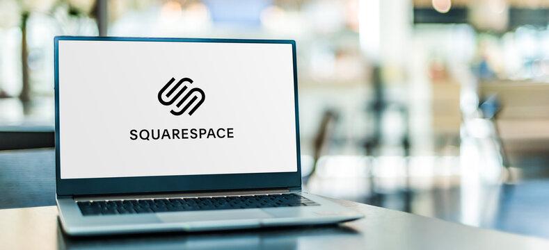 Laptop computer displaying logo of Squarespace, Inc.