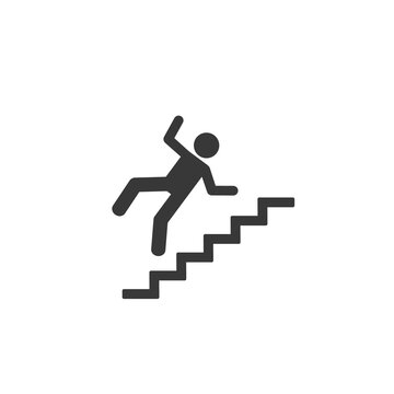 Warning sign - risk of falling of the stairs. Vector icon flat