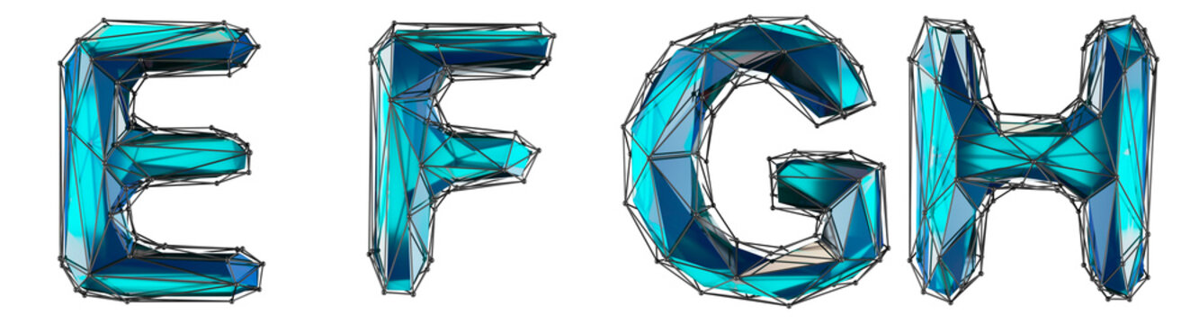Realistic 3D set of letters E, F, G, H made of low poly style. Collection symbols of low poly style blue color glass isolated on white background 3d