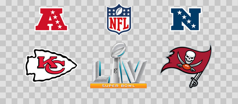 NFL Superbowl LV Vector Logos. New Orleans Saints vs Tampa Bay Buccaneers.