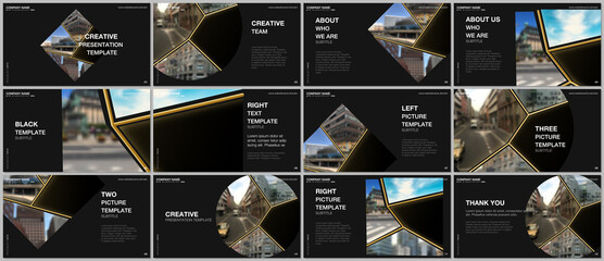 Presentation design vector templates, multipurpose template for presentation slide, flyer, brochure cover design. Abstract black and golden project with clipping mask, geometric shapes for your photo.
