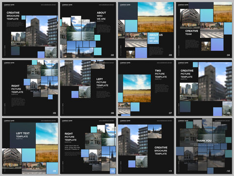 Brochure layout of square format covers design templates for square flyer leaflet, brochure design, report, presentation. Geometric blue color abstract background with photos, consisting of squares.