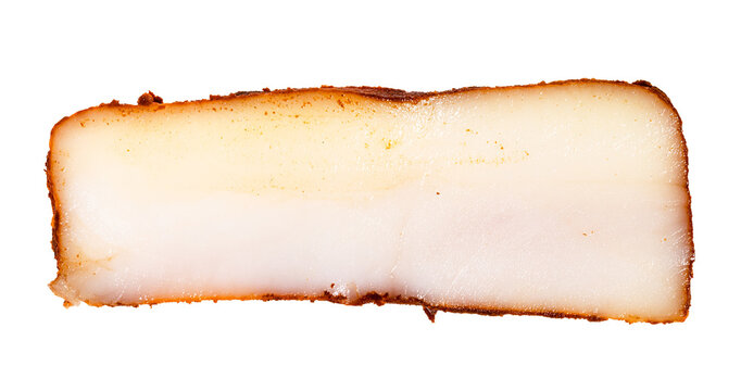 slice of bacon (pork fatback) salted with paprika isolated on white background