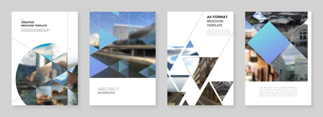 Obraz A4 brochure layout of covers design template with triangles, triangular pattern for flyer leaflet, A4 brochure design, report, presentation, magazine cover, book design.Background with place for photo - fototapety do salonu