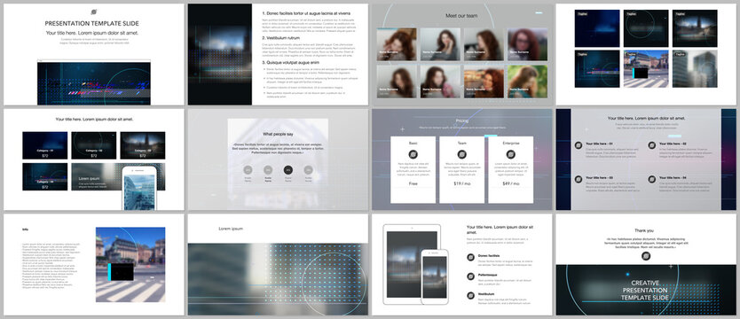 Vector templates for website design, presentations, portfolio. Templates for trendy technology design modern electro music presentation slides, flyer, leaflet, brochure cover, annual report.