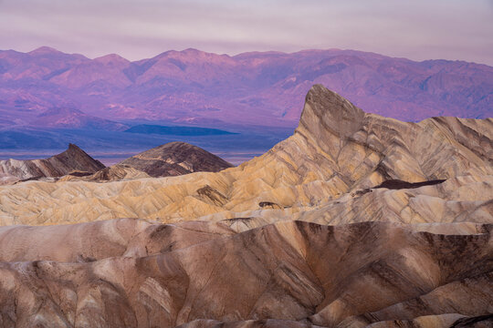Manly Beacon rock formation at Zabriskie Point before sunrise, Death Valley National Park, California, USA