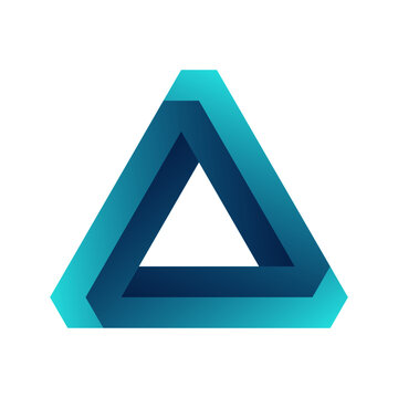 Impossible triangle. Penrose optical illusion. Blue gradient endless triangular shape. Abstract infinite geometric object. Impossible eternal figure. Isolated on white background. Vector illustration.