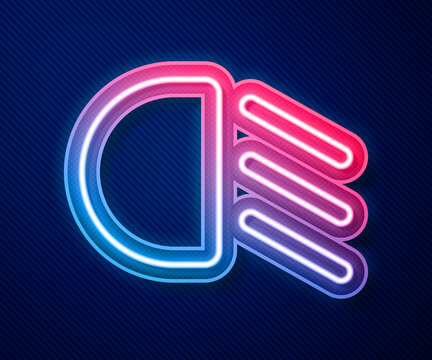 Glowing neon line High beam icon isolated on blue background. Car headlight. Vector.