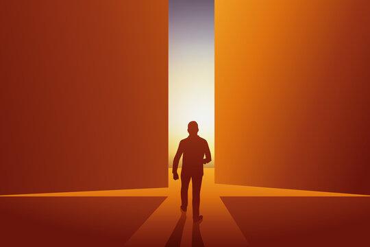 Concept de l'entrée en scène d'un homme de pouvoir qui symbolise le renouveau en passant de l'ombre à la lumière.