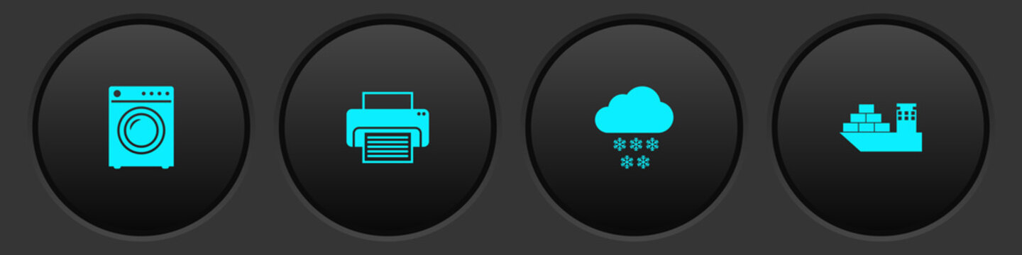 Set Washer, Printer, Cloud with snow and Cargo ship icon. Vector.