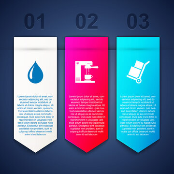Set Water drop, Coffee machine and cup and Hand truck boxes. Business infographic template. Vector.