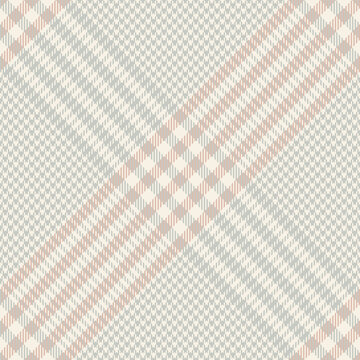 Glen plaid pattern in grey, pink, beige. Tartan seamless textured houndstooth dark check plaid for skirt, blanket, throw, duvet cover, or other modern spring autumn winter fashion textile print.