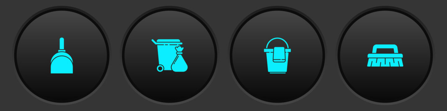 Set Dustpan, Trash can and garbage bag, Bucket with rag and Brush for cleaning icon. Vector.