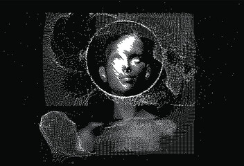 Obraz Human head made of the array of particles, pixelated and glitched portret of supreme artificial intelligence. Generative computer art. - fototapety do salonu