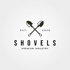 Fototapeta vintage shovel cross logo vector symbol illustration design