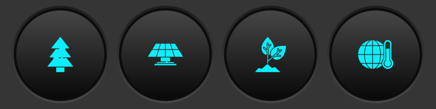 Set Christmas tree, Solar energy panel, Plant and Global warming icon. Vector.
