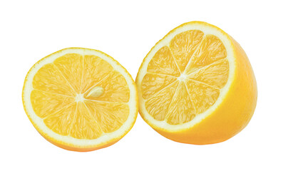 Two halves lemon isolated on white background. Pure lemon slice with a seed