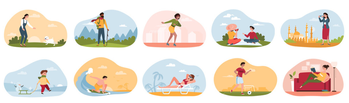 Summer and winter outdoor and indoor recreation. Fictional characters surfing, hiking, traveling, dancing, reading, playing football, walking dog and so on. Set of cartoon flat vector illustrations