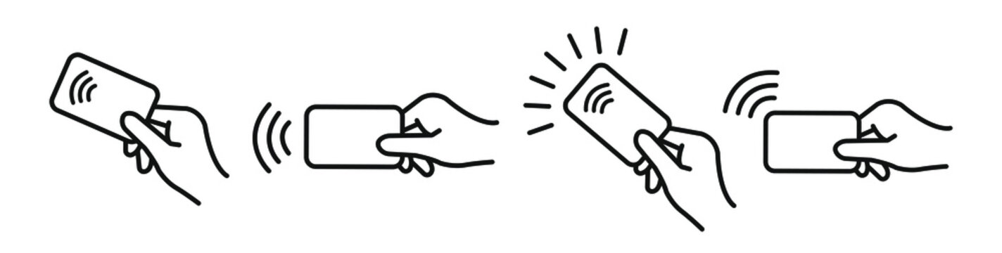 Contactless payment, credit card and hand tap pay wave logo. Vector wireless NFC and contactless pay pass icon set. Vector illustration.