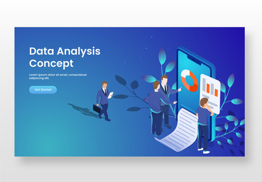 Data Analysis Concept Based Landing Page with Isometric Business People or Analysts Analysis the Data in Smartphone and Leaves Branch