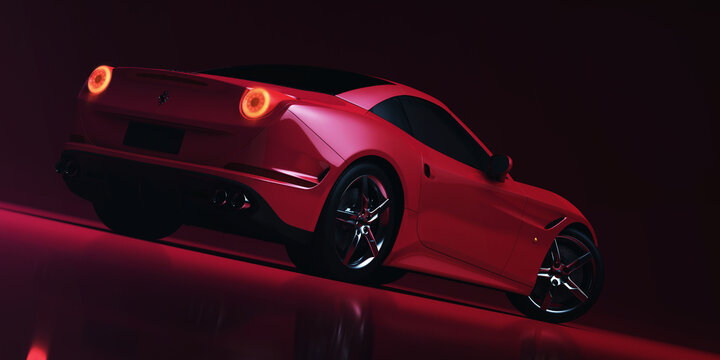 Red sport car. 3D render.