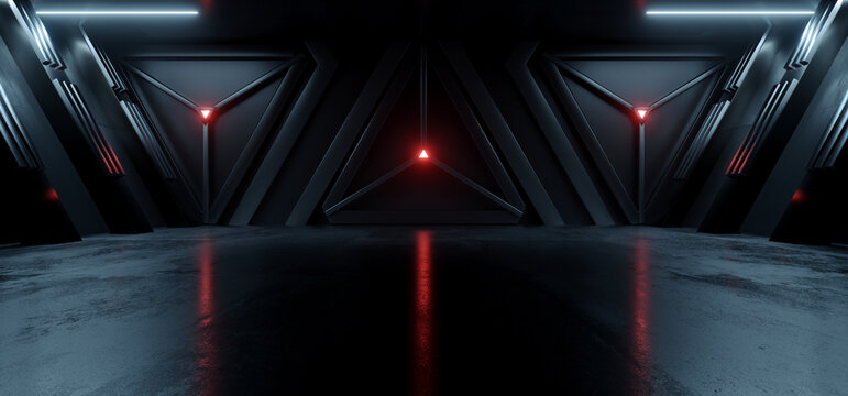 Sci Fi Cyber Futuristic Spaceship Tunnel Corridor Glowing Blue Red Lights Metal Triangle Doors Showroom Warehouse Underground Cement Concrete Glossy Floor Background Realistic 3D Rendering