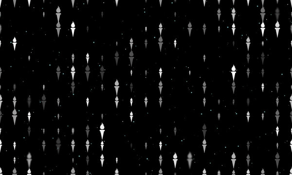 Seamless background pattern of evenly spaced white torch symbols of different sizes and opacity. Vector illustration on black background with stars