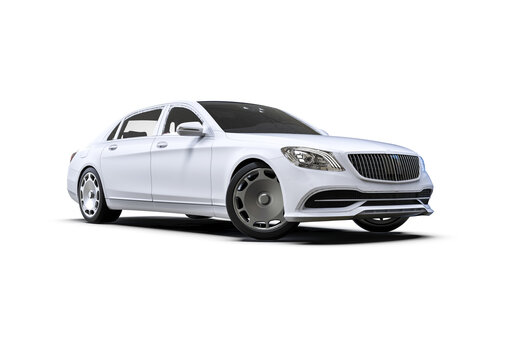 3D render image representing a high class limousine in white