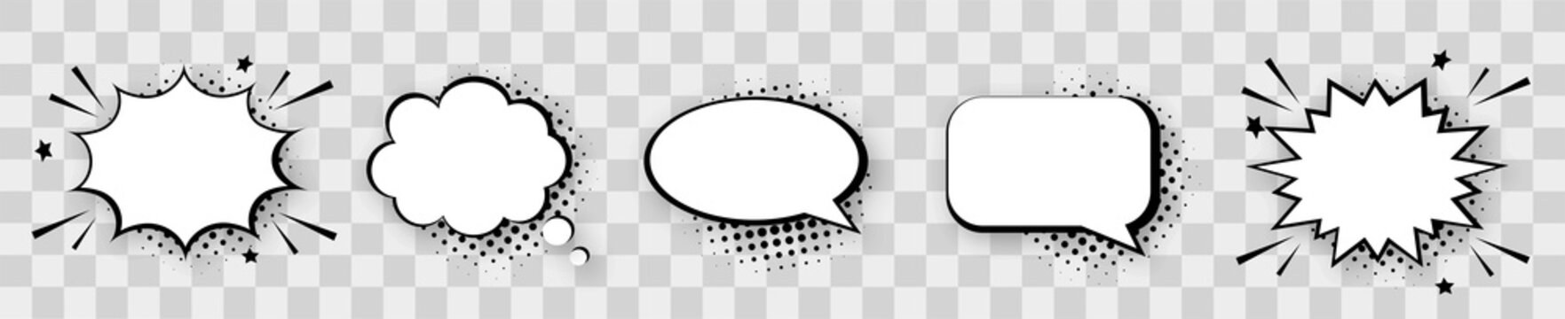 Empty comic speech bubbles set with halftone shadows. Retro comic explosions isolated on transparent background. Vintage design elements. Pop art style.